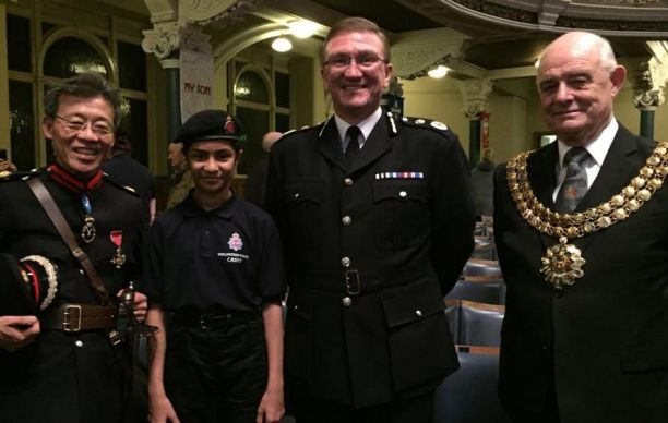 Cadets The High Sheriff of Greater Manchester Gerry Yeung OBE DL Zunera Malik Councillor Roger Hayes and Chief Constable Ian Hopkins.jpg